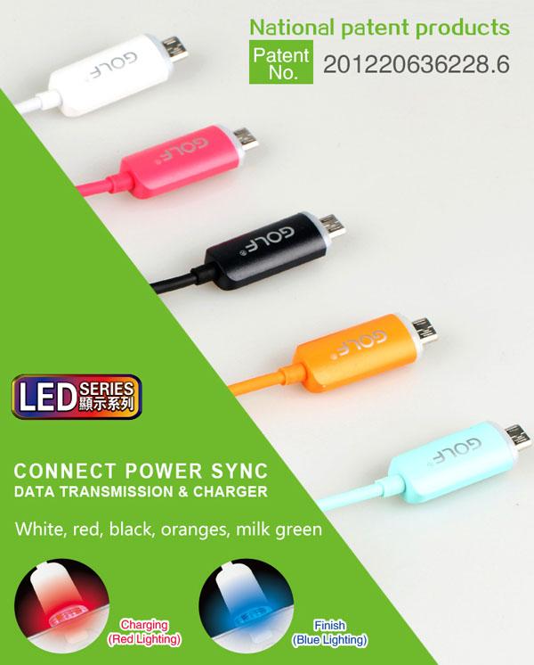 Cáp Micro USB Led Golf Chính Hãng.