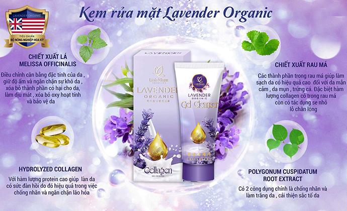 Kem Rữa Mặt Lavender Organic