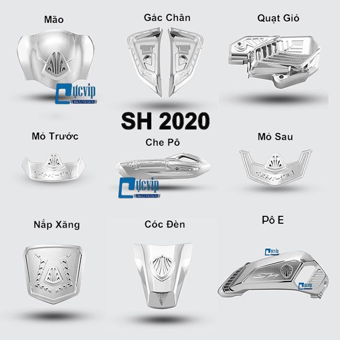 Combo 9 Món Bảo Vệ Cho Xe SH 2020 Xi Inox, Mạ Crom MS3429