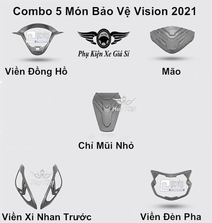 Combo 5 Món Bảo Vệ Cho Xe Vision 2021 Carbon MS3958