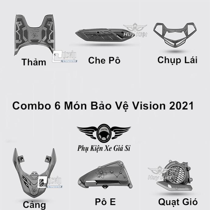 Combo 6 Món Bảo Vệ Cho Xe Vision 2021 Carbon MS3959