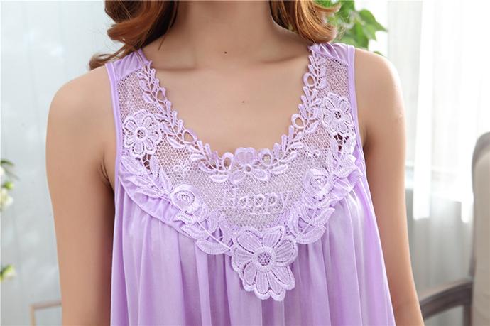 Váy Ngủ Dễ Thương Giá Rẽ MS1111 Tím Nhạt