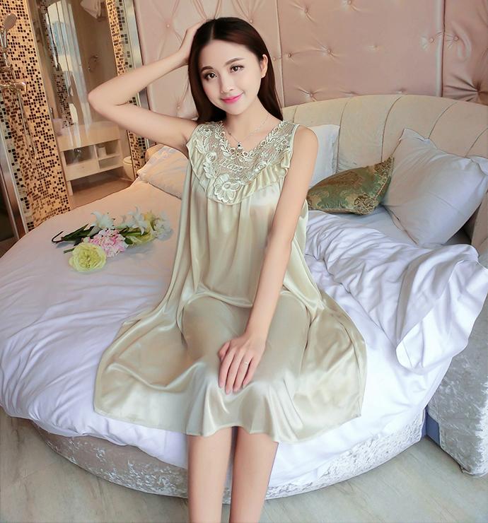 Váy Ngủ Dễ Thương Giá Rẽ MS1111 Vàng Nhạt