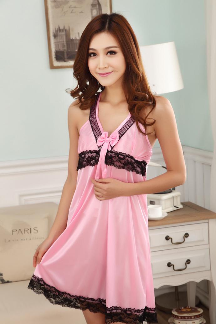 Váy Ngủ 2 Dây Dễ Thương MS1116 Hồng Phấn