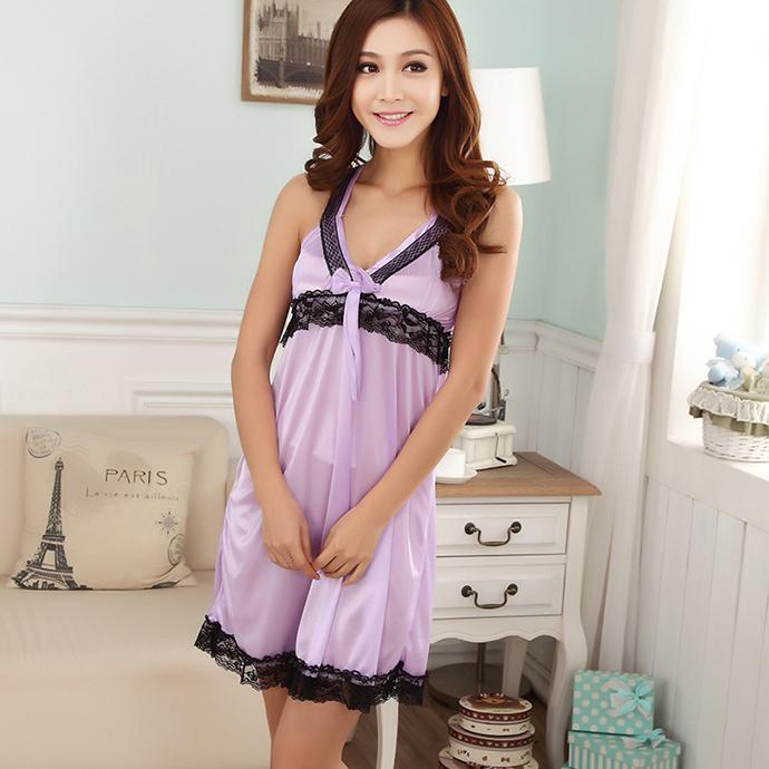 Váy Ngủ 2 Dây Dễ Thương MS1116 Tím