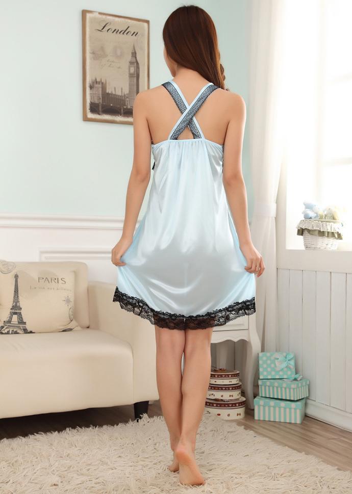 Váy Ngủ 2 Dây Dễ Thương MS1116 Xanh