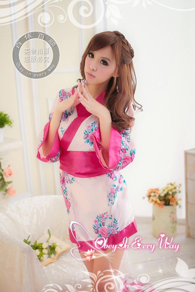 Đầm Ngủ Gợi Cảm Kimono Hồng